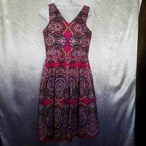 Maggy London Pink Printed Fit And Flare Dress 10.